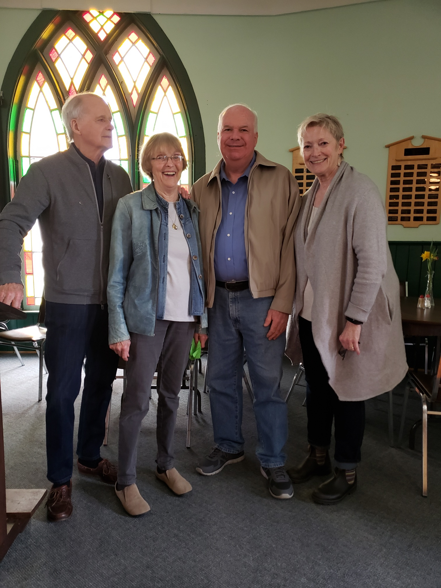 Jim at leek supper singhampton May 11 2019 with Bud Christiansen and wife Patricia Miscampbell
