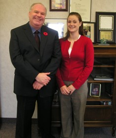 Jim with former legislative intern Rebecca Scott at Queen's Park