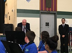 Jim attends Worsley Elementary School Concert Band performance