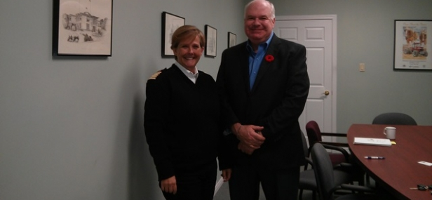 Jim Meets Cynthia Ross Tustin, Fire Chief of Essa Township, Concerning the Rural Residential Sprinkler Campaign