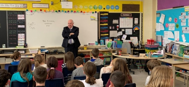 Jim visits with Grade 5 students in New Lowell