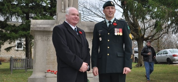 Jim Meets Sergeant Rory Dolan at the Ravenna Remembrance Day Ceremony.