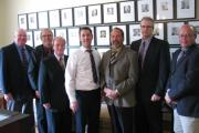 (May 13, 2013) At Queen's Park today, Jim, Warden Cal Patterson and other dignitaries from the Town of Wasaga Beach and County of Simcoe met with the Minister of Natural Resources, David Orazietti to discuss various issues including low water levels and Springwater Park. In the picture (L-R): Warden Cal Patterson, Wasaga Beach Councillor Stan Wells, the Minister of Natural Resources David Orazietti, Simcoe County Forester Graeme Davis, Simcoe County CAO Mark Aitken and Wasaga Beach CAO George Vandeboncoeur.